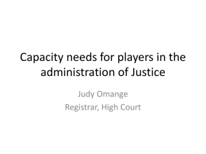 Capacity needs for players in the administration of Justice