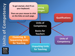 Understanding Units of Competency Basics