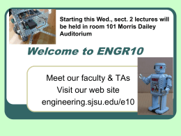 Welcome to ENGR10 - San Jose State University