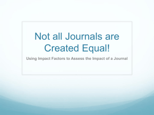 Not all Journals are Created Equal!
