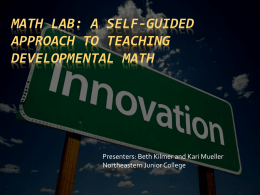 Math Lab: A Self-Guided Approach to Teaching
