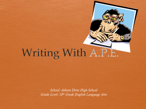 Writing With A.P.E. - English II with Mr. Davis
