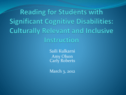 Reading for Students with Significant Cognitive Disabilities