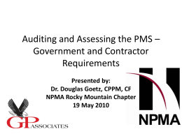 Auditing and Assessing the PMS - Denver Rocky Mt