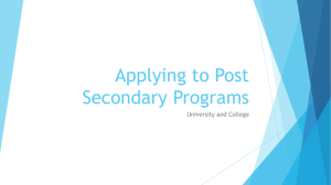 Applying to Post Secondary Programs