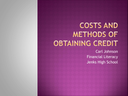 Costs and methods of obtaining credit