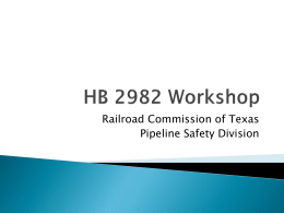 HB 2982 Workshop - Railroad Commission