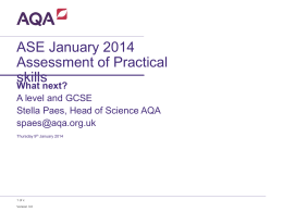 ASE January 2014 Assessment of Practical skills