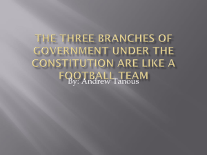 The three branches of government under the constitution are like a