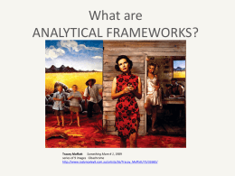 WHAT ARE ANALYTICAL FRAMEWORKS?