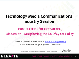 Technology Media Communications Industry Session