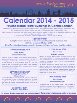 Calendar 2014 - 2015 - London Psychodrama Network