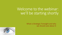 What is strategic foresight and why we should