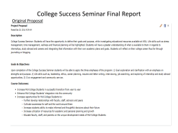 College Success Seminar Final Report