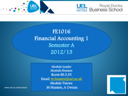 Financial accounting - Personal Home Pages (at UEL)