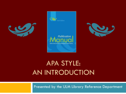 APA Style: An Introduction