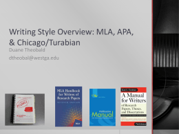 Writing Style Overview: MLA, APA, & Chicago/Turabian