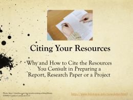 How to Cite Your Resources