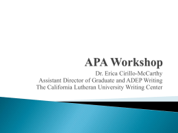 APA Workshop - California Lutheran University