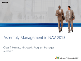 Assembly Management in NAV 2013