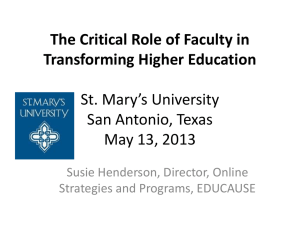 The Critical Role of Faculty in Transforming Higher Education