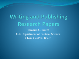 Research and Publishing PowerPoint Presentation by Prof. Temario