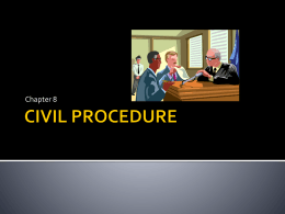 CIVIL PROCEDURE - pre trial