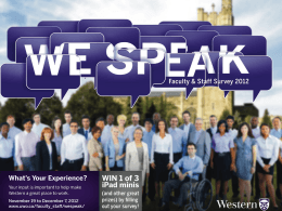 WE SPEAK: Faculty & Staff Survey 2012