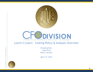 Costing Policy & Analysts – April 17, 2012