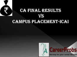 CA Final Results Vs Campus Placement-ICAI