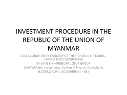 investment procedure in the republic of the union of myanmar
