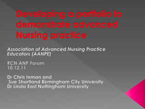 Developing a portfolio to demonstrate advanced Nursing practice