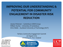 improving our understanding & potential for community engagement