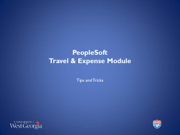 PeopleSoft Travel & Expense Module