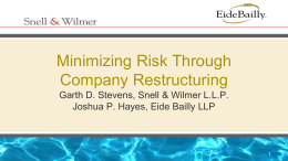 Minimizing Risk Through Company Restructuring