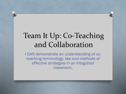 Co-Teaching Presentation - Montgomery County Schools
