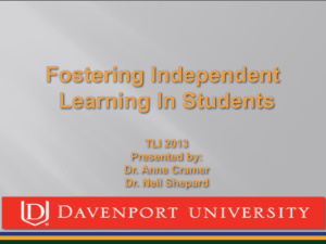 Fostering Independent Learning PPT