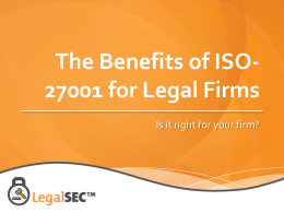 The Benefits of ISO-27001 for Legal Firms