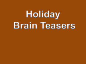 Holiday Brain Teasers (with answers)