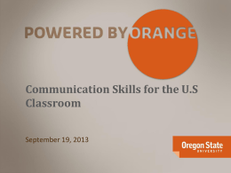 Communication Skills for the US Classroom