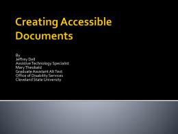Creating Accessible Documents