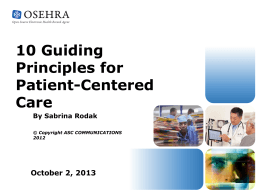 10 Guiding Principles for Patient-Centered Care