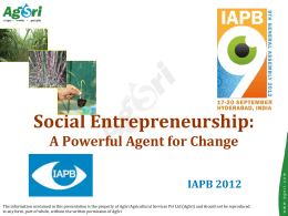 Mr Sree Kumar_Social Entrepreneurship A Powerful Agent for