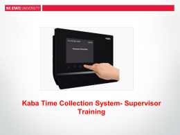 Kaba Supervisor Training