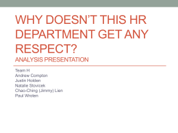 Why Doesn*t This HR Department Get Any Respect? Analysis