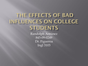 The effects of Bad influences on college students