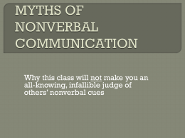 Myths of Nonverbal Communication A