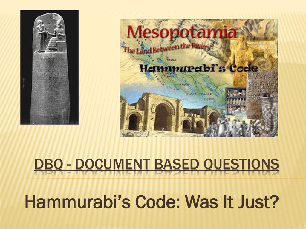 dbq hammurabi`s code