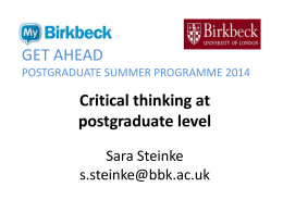 Critical thinking at postgraduate level