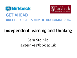 Independent learning and thinking
